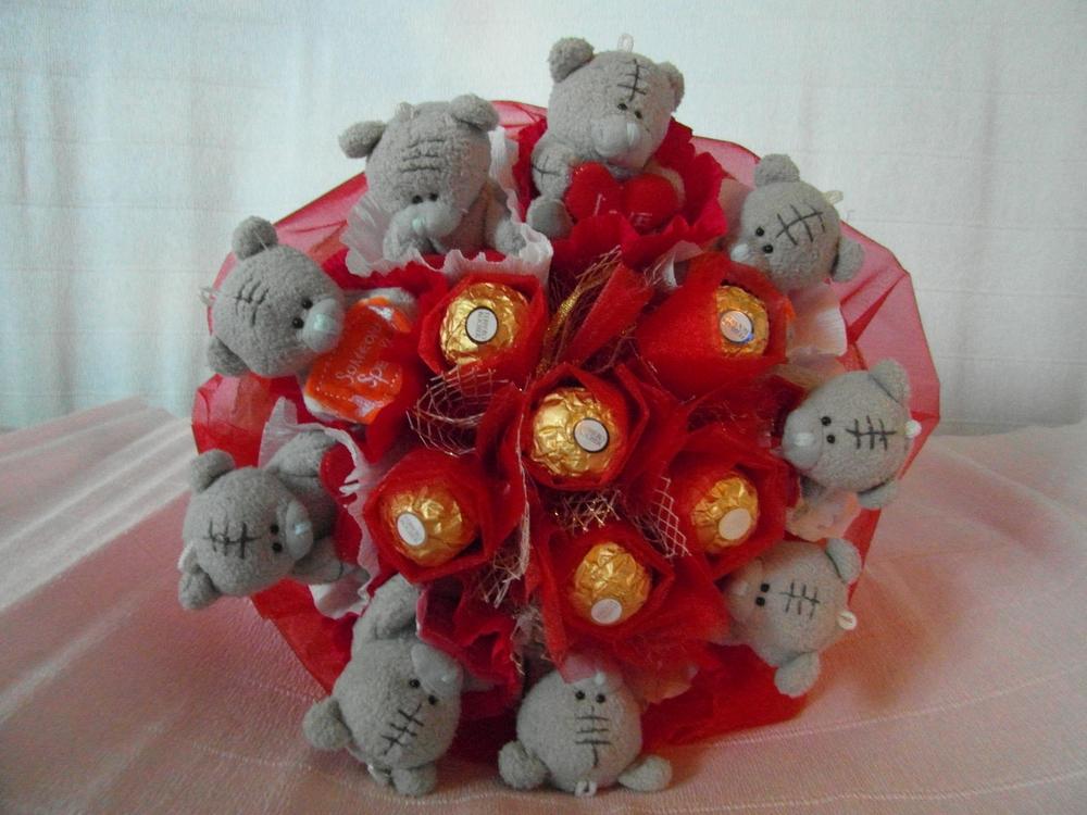 Букет из мишек с конфетами своими руками 477
