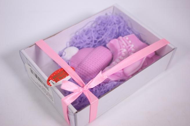 мыло (набор из 2х шт) шапочка и коньки (розовый) ручная работа