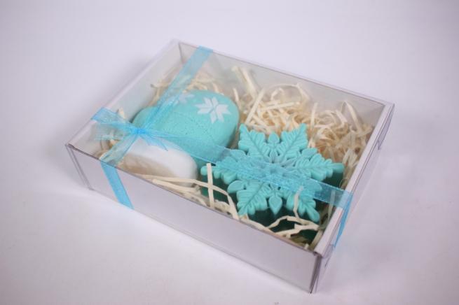 мыло (набор из 2х шт) варежка и снежинка (бирюзовый) ручная работа