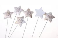 Декоративные вставки - Украшение тортов на Новый Год 2014 - 4264 Вставка Звезда с снежинкой белая-золото (12шт в уп)
