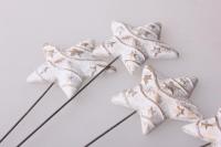 Декоративные вставки - Украшение тортов на Новый Год 2014 - 4271 Вставка Звезда с полоской белая-золото (12шт в уп)