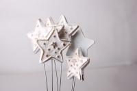 Декоративные вставки - Украшение тортов на Новый Год 2014 - 4301 Вставка Звезда со звездочками белая-золото (12шт в уп)