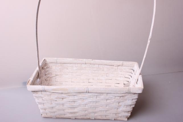 Корзина плетеная (бамбук) белая  d=30х17,5, h=12/45см 6809