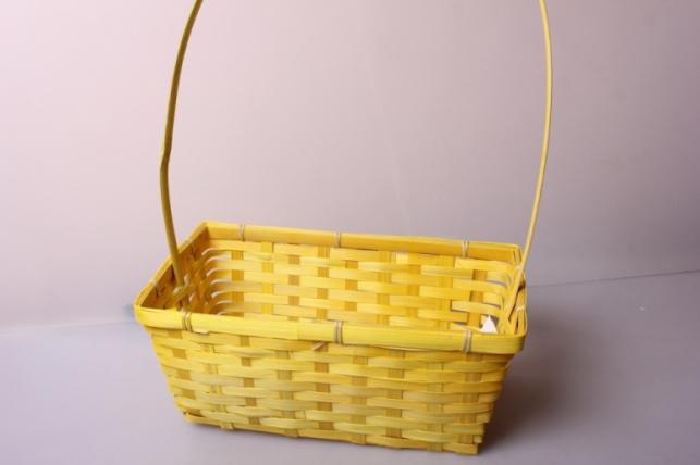 Корзина плетеная (бамбук) желтая d=30x17,5, h=12/5см 6847