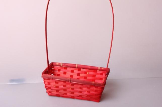 Корзина плетеная (бамбук) красная d=22х11,5, h=9см 6489