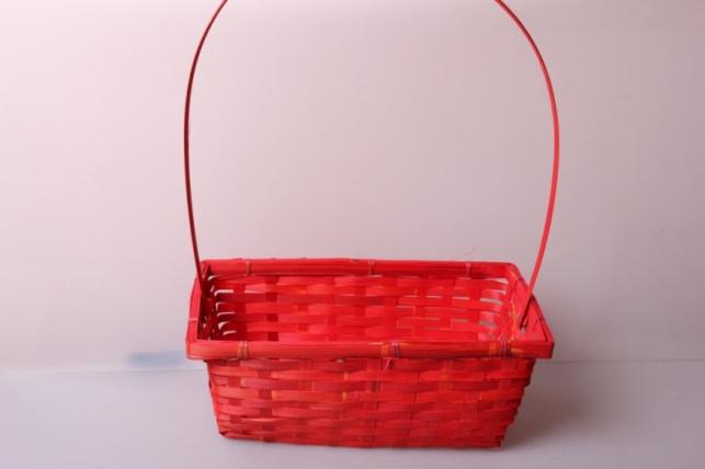 Корзина плетеная (бамбук) красная d=30x17,5, h=12/45см 6861