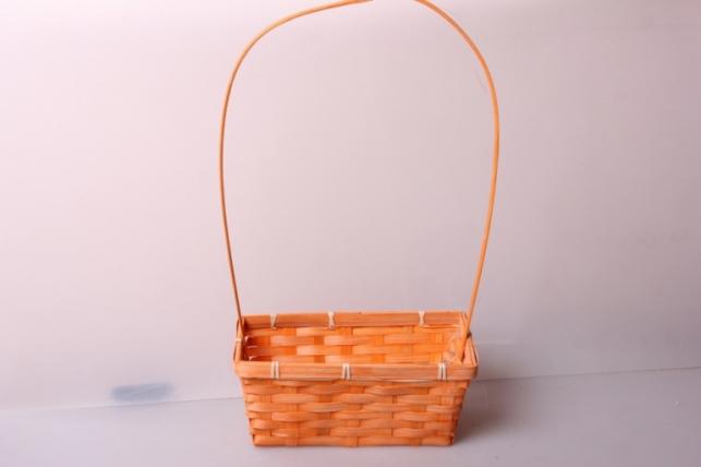 Корзина плетеная (бамбук) оранжевая d=22х11,5, h=9см 6472