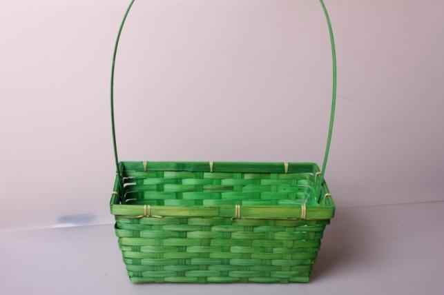 Корзина плетеная (бамбук) зеленая d=30x17,5, h=12/45см 6823