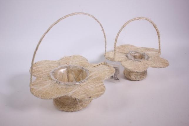 Набор плетёных корзин из 2х шт - сизаль Цветок Белые