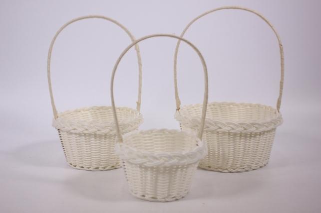 Набор плетёных корзин из 3х шт. (пластик) - Белая d=16, h=7х25см (2013-990)