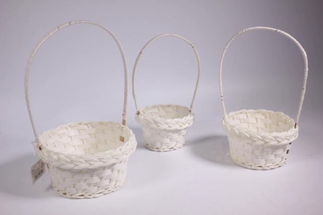Набор плетёных корзин из 3х шт. (пластик) - Круг d=15, h=8х25см Белый (YF4020 S/3)