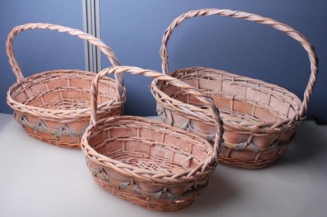 """Набор плетеных корзин из 3шт. """"Овал, розовый"""" AB1508"""
