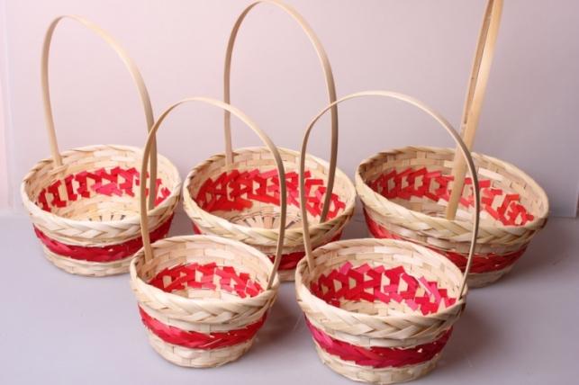 Набор плетеных корзин из 5шт. (бамбук) красная 6984