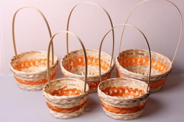 Набор плетеных корзин из 5шт. (бамбук) оранжевая 6977