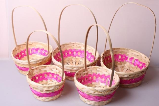 Набор плетеных корзин из 5шт. (бамбук) розовая 6953