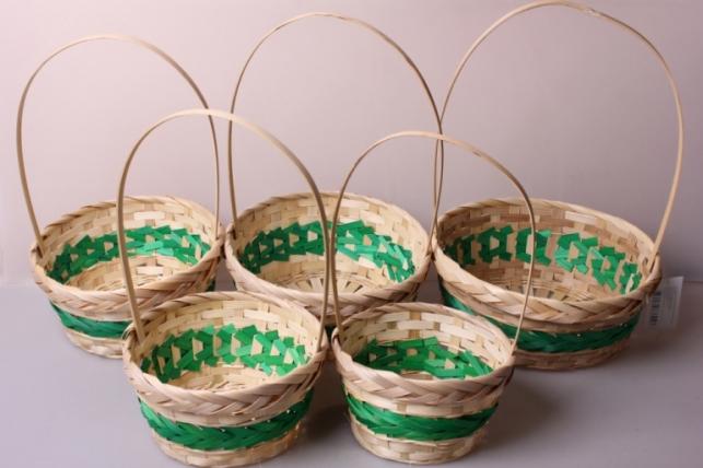 Набор плетеных корзин из 5шт. (бамбук) зеленая 6946