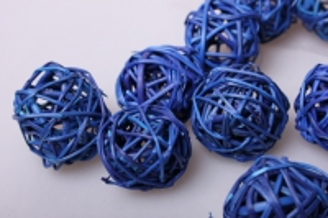 Набор плетеных шаров из ротанга d=3см Синие (12шт в уп)