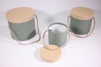 Набор подарочных коробок из 3шт (Цилиндр) бирюзовые с кремовой крышкой