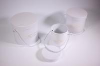 Набор подарочных коробок из 3шт (Цилиндр для цветов) Белый