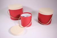 Набор подарочных коробок из 3шт (Цилиндр) красные с белой крышкой