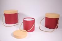 Набор подарочных коробок из 3шт (Цилиндр) вишнёвые с карамельной крышкой
