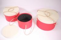 Набор подарочных коробок из 3шт (Круг с ручками) красные с бежевой крышкой