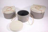 Набор подарочных коробок из 3шт (Круг с ручками) светло серые с серой крышкой