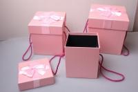 Набор подарочных коробок из 3шт Куб с бантом 19*19*21см