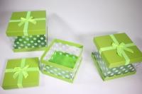 Набор подарочных коробок из 3шт (Куб с прозрачными стенками) салатовый
