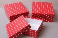 """Набор подарочных коробок из 3шт. """"Квадрат №75  Горох Красный"""" Пин 75-ГК"""