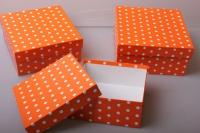 """Набор подарочных коробок из 3шт. """"Квадрат №75  Горох Оранжевый"""" Пин 75-ГО"""
