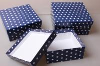 """Набор подарочных коробок из 3шт. """"Квадрат №75  Горох Синий"""" Пин 75-ГС"""