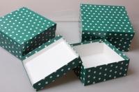"""Набор подарочных коробок из 3шт. """"Квадрат №75  Горох Зеленый"""" Пин 75-ГЗ"""