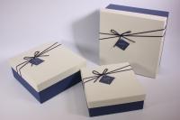 Набор подарочных коробок из 3шт (Квадрат) бежевая крышка