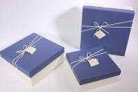 Набор подарочных коробок из 3шт (Квадрат) синяя крышка