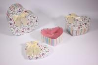 Набор подарочных коробок из 3шт (Сердце) полоска с цветами