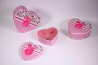 Набор подарочных коробок из 3шт (Сердце) розовые