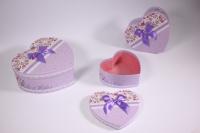 Набор подарочных коробок из 3шт (Сердце) сирень