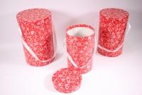 Набор подарочных коробок из 3шт (Шляпная  под цветы с ручкой) Люкс - Сердца красные (Код ЦЦВ6)