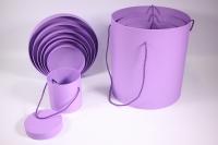 Набор подарочных коробок из 7шт (Цилиндр для цветов с ручкой) - Сирень