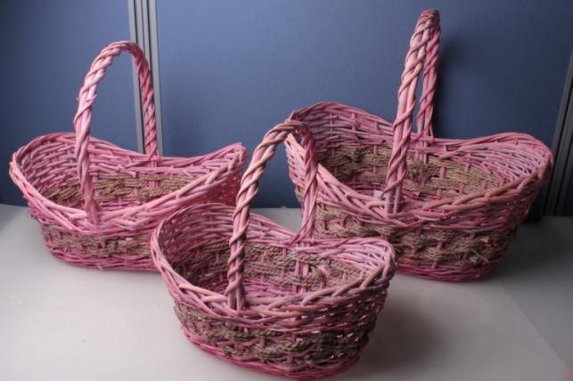 """Набор подарочных корзин из 3шт. """"Овал, розовый"""" AB1513"""