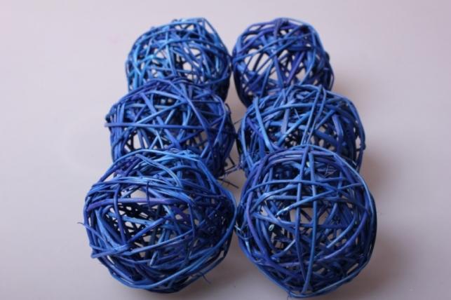Набор шаров из ротанга плетеных d=8см Синие (6шт в уп)