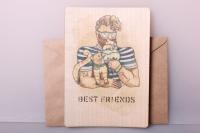 открытка+конверт 15х10,5см - лучшие друзья (деревянный шпон)