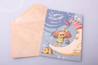 Открытка + конверт 15х10,5см - С днём рождения на луне (деревянный шпонгн