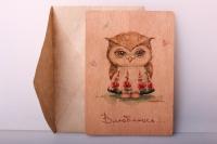 Открытка+конверт 15х10,5см - Влюблюсь (деревянный шпон)