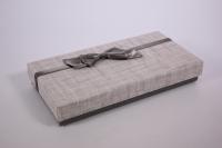 Подарочная коробка (Прямоугольная однотонная)  Серый бант