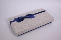 Подарочная коробка (Прямоугольная однотонная)  Синий бант