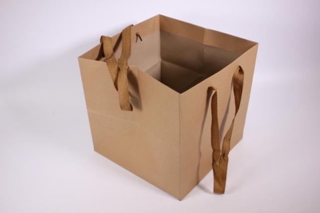 Подарочные пакеты - Сумка Люкс Крафт однотонная КУБИК (25*25*25)   (12 шт/уп) 68L