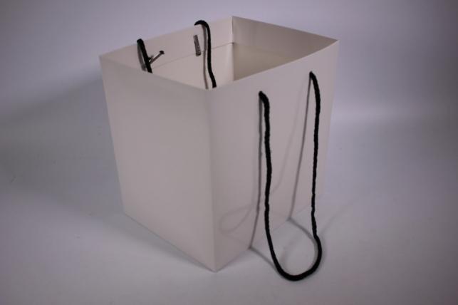 Подарочные пакеты - Сумка Люкс однотонная Белая (23*23*19)   (10 шт/уп) 19F