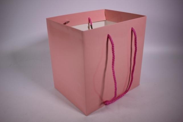 Подарочные пакеты - Сумка Люкс однотонная Розовая (23*23*19)   (10 шт/уп) 19F